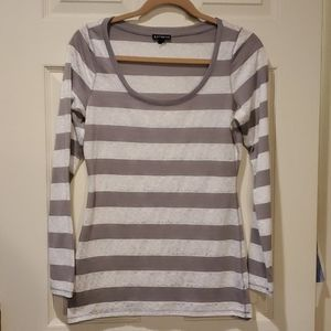 EXPRESS L/S Striped Scoop Neck Shirt